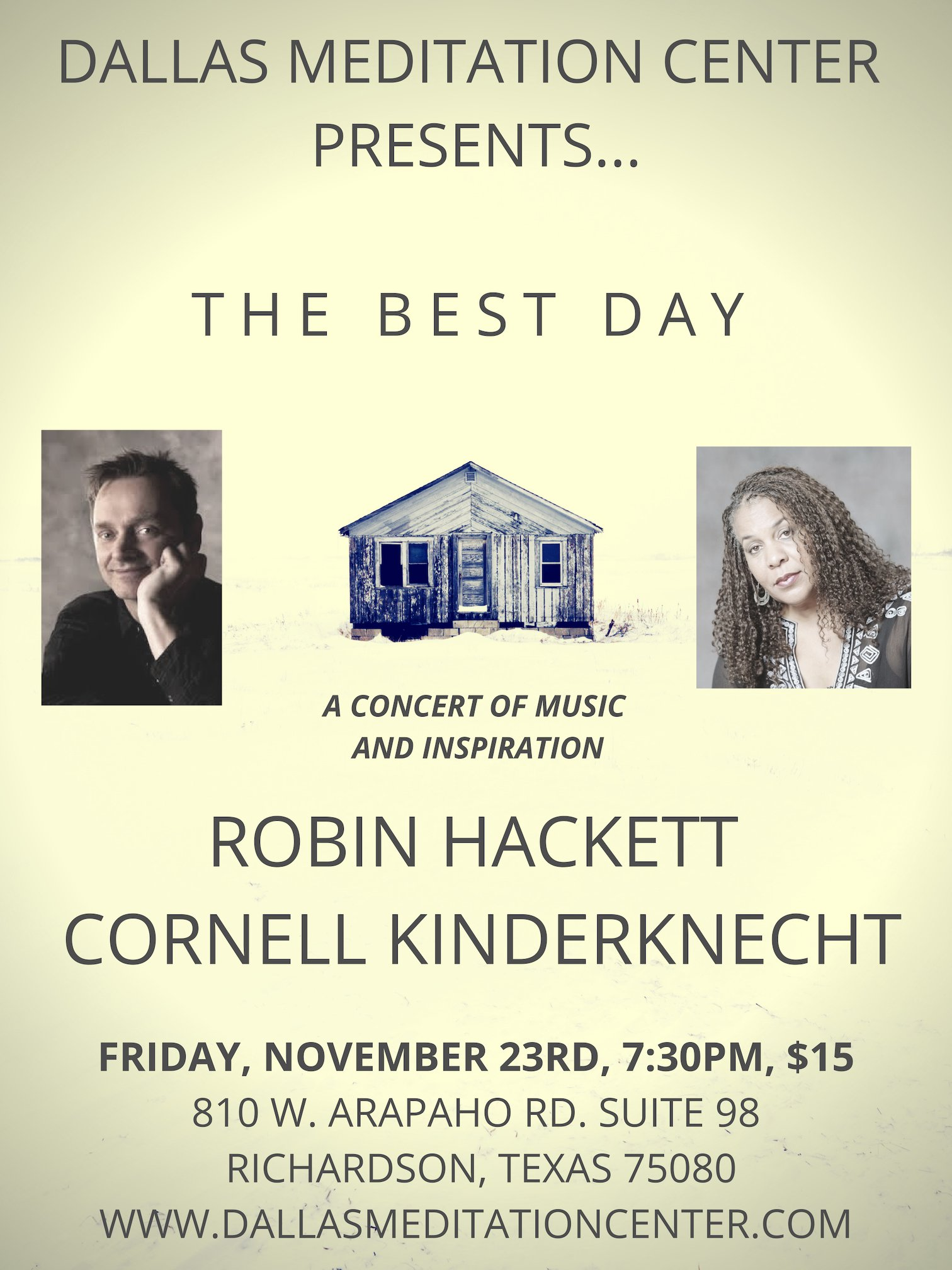 Evening Concert with Robin Hackett and Cornell Kinderknecht - November 23, 2018 - Richardson/Dallas, Texas