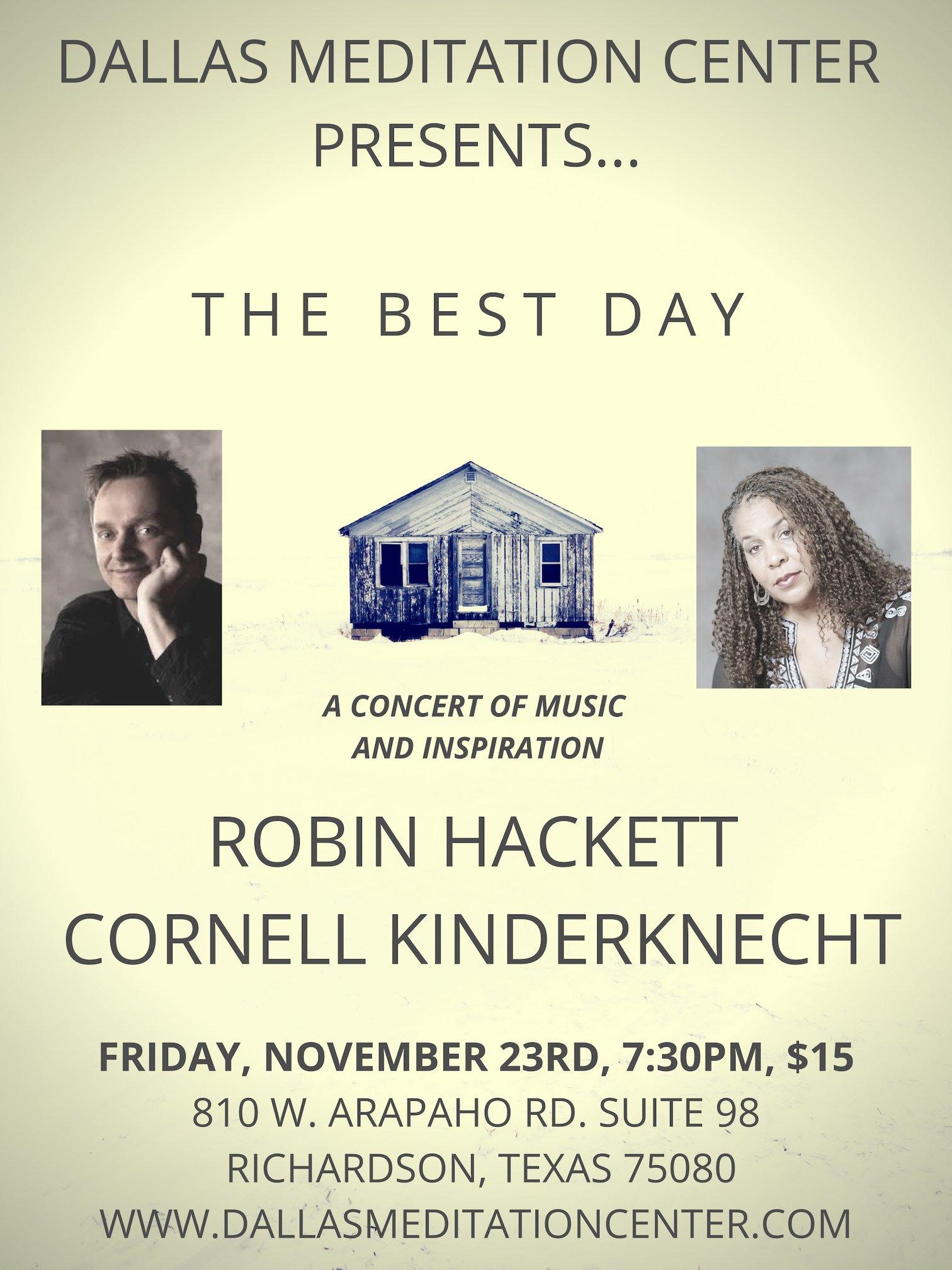 Evening Concert with Robin Hackett and Cornell Kinderknecht - November 23, 2018 - Richardson/Dallas, Texas