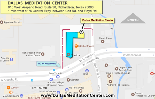 Map to Dallas Meditation Center @ 810 W Arapaho Rd